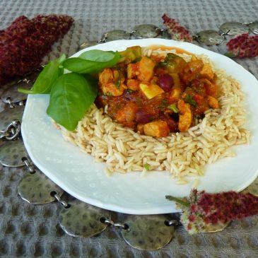 Schab w warzywach z bazylią i brązowym ryżem